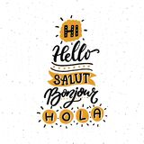 Word Hello in different european languages. Salut, french bonjour, spanish hola. Typography poster or stencil for Stock Images