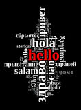 Word Hello in different languages Stock Photos