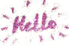 Word Hello of purple glitter sparkle on white background Royalty Free Stock Images