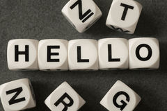 Word hello on toy cubes. Word hello on white toy cubes Royalty Free Stock Photography