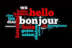 Word Hello translated in many languages. Multilingual word cloud on black background Stock Image