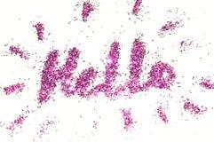 Word Hello van purple schittert fonkeling op witte achtergrond Royalty-vrije Stock Afbeeldingen