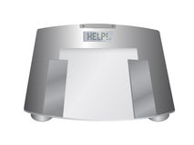 The word help on a weight scale, illustration Stock Photo