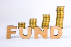 Word het fonds van driedimensionele brieven is in voorgrond met de groeikolommen van muntstukken op vage achtergrond Monetair fon stock foto