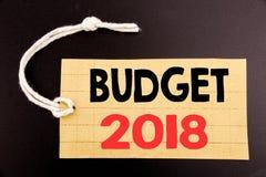 Word, het schrijven Begroting 2018 Bedrijfsconcept voor online saleHousehold die boekhouding planning geschreven op prijskaartjed Royalty-vrije Stock Afbeelding