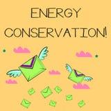 Word het schrijven het Behoud van de tekstenergie Het bedrijfsconcept voor Vermindering van de hoeveelheid energie verbruikte in  stock illustratie