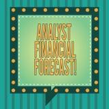 Word het schrijven het concept van Financial Forecast Business van de tekstanalist voor ramings toekomstige financiële resultaten stock afbeelding