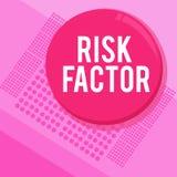 Word het schrijven de Factor van het tekstrisico Bedrijfsconcept voor iets die de kans van zich het aantonende ontwikkelen a toen royalty-vrije illustratie