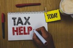Word het schrijven de Hulp van de tekstbelasting Bedrijfsconcept voor Hulp van de verplichte bijdrage tot het van de de opbrengst royalty-vrije stock afbeeldingen