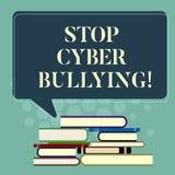 Word het schrijven de Intimidatie van Cyber van het teksteinde Het bedrijfsconcept voor verhindert gebruik van elektronische comm vector illustratie