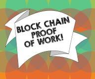 Word het schrijven de Keten van het tekstblok Bewijs van het Werk Bedrijfsconcept voor Gedecentraliseerde geld 3D Gevouwen handel stock illustratie