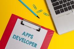Word het schrijven de Ontwikkelaar van tekstapps Bedrijfsconcept voor Grafische kunstenaar Software Programmer en Analist Experts royalty-vrije stock foto