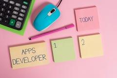 Word het schrijven de Ontwikkelaar van tekstapps Bedrijfsconcept voor Grafische kunstenaar Software Programmer en Analist Experts stock foto's