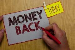 Word het schrijven de Rug van het tekstgeld Het bedrijfsconcept voor krijgt wat u in ruil voor tekort of probleem in de holdingst stock illustratie