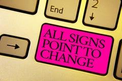 Word het schrijven de tekst allen ondertekent Punt om te veranderen Bedrijfsconcept voor Noodzaak om dingen verschillend nieuwe v stock foto's