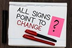Word het schrijven de tekst allen ondertekent Punt om te veranderen Bedrijfsconcept voor Noodzaak om Kleur van de dingen de versc royalty-vrije stock afbeeldingen