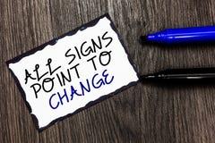 Word het schrijven de tekst allen ondertekent Punt om te veranderen Bedrijfsconcept voor Noodzaak om Zwarte van de dingen de vers stock afbeelding