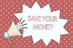 Word het schrijven de tekst bespaart Uw Geld Het bedrijfsconcept voor levensonderhoud uw besparingen in te beschermen bank of voo royalty-vrije illustratie