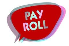 Word het schrijven de tekst betaalt Broodje Bedrijfsdieconcept voor Hoeveelheid lonen en salarissen door een bedrijf aan zijn de  royalty-vrije illustratie