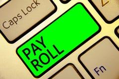 Word het schrijven de tekst betaalt Broodje Bedrijfsdieconcept voor Hoeveelheid lonen en salarissen door een bedrijf aan zijn rod stock illustratie