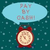 Word het schrijven de tekst betaalt door Contant geld Bedrijfsconcept voor Klant die met geldmuntstukken rekeningen betalen die e stock illustratie