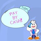 Word het schrijven de tekst betaalt door Contant geld Bedrijfsconcept voor Klant die met geldmuntstukken rekeningen betalen die e royalty-vrije illustratie