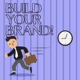 Word het schrijven de tekst bouwt Uw Merk Het bedrijfsconcept voor leidt of verbetert klanten tot kennis en adviezen van product stock illustratie
