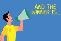 Word het schrijven de tekst en de Winnaar zijn Bedrijfsconcept voor het Aankondigen van wie de Kampioen Exemplar Uitvoerder is royalty-vrije illustratie