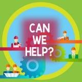 Word het schrijven de tekst kan wij helpen Bedrijfsconcept voor het Aanbieden van hulpsteun deskundig advies voor uw problemen stock illustratie