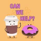 Word het schrijven de tekst kan wij helpen Bedrijfsconcept voor het Aanbieden van hulpsteun deskundig advies voor uw problemen vector illustratie