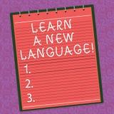 Word het schrijven de tekst leert een Nieuwe Taal E royalty-vrije illustratie