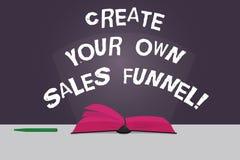 Word het schrijven de tekst leidt tot Uw Eigen Verkooptrechter Bedrijfsconcept voor Develop een marketing Kleurenpagina's van de  royalty-vrije illustratie