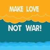 Word het schrijven de tekst maakt Liefde niet Oorlog Het bedrijfsconcept voor vecht niet tegen elkaar heeft vrede en affectie royalty-vrije illustratie