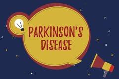Word het schrijven de tekst Parkinson s is Ziekte Bedrijfsconcept voor zenuwstelselwanorde die beweging beïnvloedt royalty-vrije illustratie