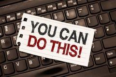 Word het schrijven de tekst u kan dit doen Bedrijfsconcept voor Enthousiasme en bereidheid om uitdagingen in het leven te overwin stock afbeeldingen