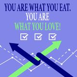 Word het schrijven de tekst u is Wat u u bent eet van Wat u houdt Bedrijfsconcept voor Begin om gezond voedsel te eten vector illustratie