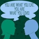 Word het schrijven de tekst u is Wat u u bent eet van Wat u houdt Bedrijfsconcept voor Begin om gezond voedsel te eten stock illustratie
