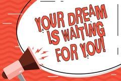 Word het schrijven de tekst Uw Droom wacht op u Bedrijfsconcept voor het Doel Hunkerend Plan van de Doel Objectief Bedoeling vector illustratie