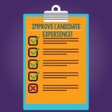 Word het schrijven de tekst verbetert Kandidaatervaring Bedrijfsconcept voor Develop werkzoekenden die tijdens Gevoerde rekruteri royalty-vrije illustratie