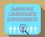Word het schrijven de tekst verbetert Kandidaatervaring Bedrijfsconcept voor Develop werkzoekenden die tijdens rekrutering voelen vector illustratie