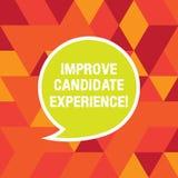 Word het schrijven de tekst verbetert Kandidaatervaring Bedrijfsconcept voor Develop werkzoekenden die tijdens rekruteringsspatie stock illustratie