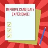Word het schrijven de tekst verbetert Kandidaatervaring Bedrijfsconcept voor Develop werkzoekenden die tijdens rekruteringsstapel stock illustratie