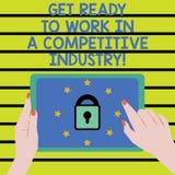 Word het schrijven de tekst wordt Klaar om in de Concurrerende Industrie te werken Bedrijfsconcept voor Develop onder grote Vrouw vector illustratie