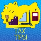 Word het schrijven de Uiteinden van de tekstbelasting Bedrijfsconcept voor Hulpideeën voor Vermindering van belastingheffings de  royalty-vrije illustratie
