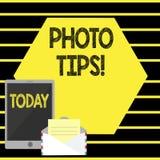 Word het schrijven de Uiteinden van de tekstfoto Bedrijfsconcept voor Suggesties om goede beeldenadviezen voor grote fotografie t vector illustratie