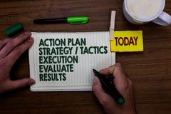 Word het schrijven de Uitvoering van de de Strategietactiek van het tekstActieplan evalueert Resultaten Bedrijfsconcept voor de M royalty-vrije stock foto