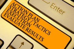 Word het schrijven de Uitvoering van de de Strategietactiek van het tekstActieplan evalueert Resultaten Bedrijfsconcept voor het  stock fotografie