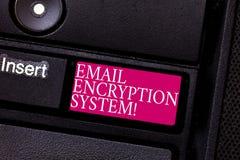 Word het schrijven het Systeem van de tekste-mail Encryptie Bedrijfsconcept voor Authentificatiemechanisme van een e-mailberichtt stock foto