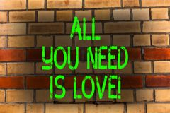 Word het schrijven tekst Allen u wenst is Liefde Het bedrijfsconcept voor Diepe affectie vergt appreciatie roanalysisce Bakstenen royalty-vrije stock foto