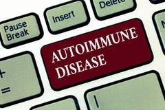 Word het schrijven tekst Auto-immune Ziekte Bedrijfsconcept voor Ongebruikelijke antilichamen die hun eigen lichaamsweefsels rich royalty-vrije stock afbeelding